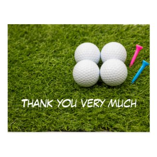 Golf thank you card with golf ball and tees