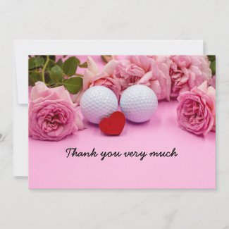 Golf thank you card with golf balls pink roses