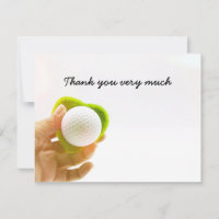 Golf Thank you card with hand holds golf ball
