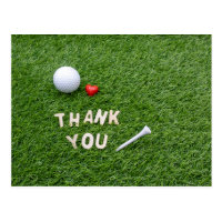Golf thank you card with love and golf ball
