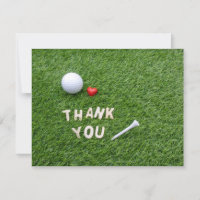 Golf Thank you card with love  golf ball and tee