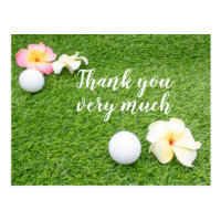 Golf Thank you card with plumeria flower and ball
