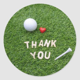 Golf Thank you sticker with golf ball and tee