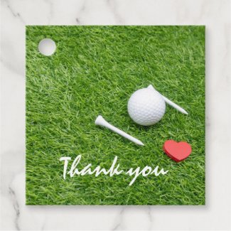Golf thank you sticker with golf ball and tee love favor tags