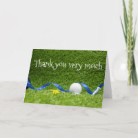 Golf Thank you very much with golf ball and ribbon Card
