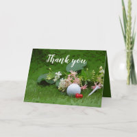 Golf Thank you with golf ball and tee on flower Card