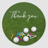 Golf Thank you with golf ball and tees on green Classic Round Sticker