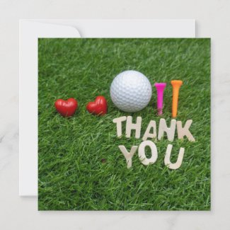Golf thank you with golf ball and two tees