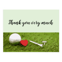 Golf Thank you with love on green grass Postcard