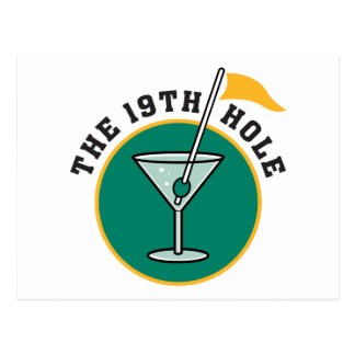 Golf The 19th Hole Drinking Postcard