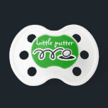 """Golf theme baby pacifier / soother / dummy binkie<br><div class=""""desc"""">Golf theme baby pacifier / soother / dummy binkie. Cute golfing gift idea for new baby. Funny quote for newborn golfer boy or girl: Little putter!</div>"""
