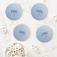 Golf Theme Custom Initial Golfer's Coaster Set