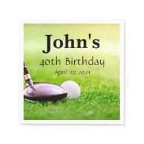 Golf Theme Man's Birthday Personalized Napkin