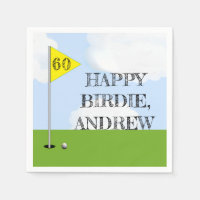 golf-themed birthday napkin