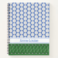 Golf themed pattern custom name notebook