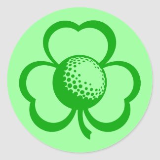 Golf Three Leaf Clover for St. Patrick's Day Classic Round Sticker