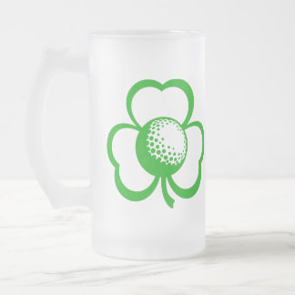 Golf Three Leaf Clover for St. Patrick's Day Frosted Glass Beer Mug