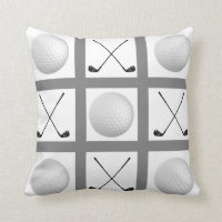 Golf Tic Tac Toe pillow with golf balls and clubs