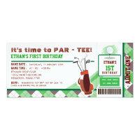 Golf Ticket Pass First Birthday Party Invitation
