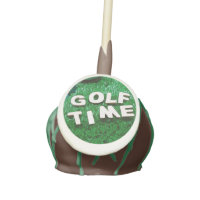 Golf time on green grass cake pops