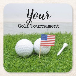 Golf Tournament with flag of America and tee Square Paper Coaster