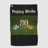 Golf Towel 80th Birthday Happy Birdie golf gifts