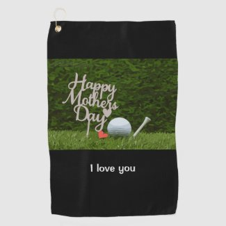 Golf towel for mother day with golf ball and tee