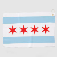 Golf Towel with flag of Chicago,Illinois, USA