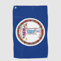 Golf Towel with flag of Virginia State, USA