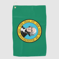 Golf Towel with flag of Washington State, USA