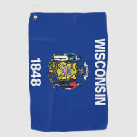 Golf Towel with flag of Wisconsin State, USA