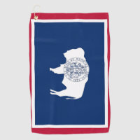 Golf Towel with flag of Wyoming State, USA