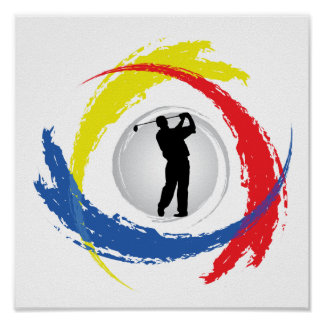 Golf Tricolor Emblem Poster