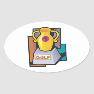 Golf Trophy Oval Sticker