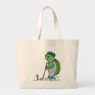Golf Turtle Large Tote Bag