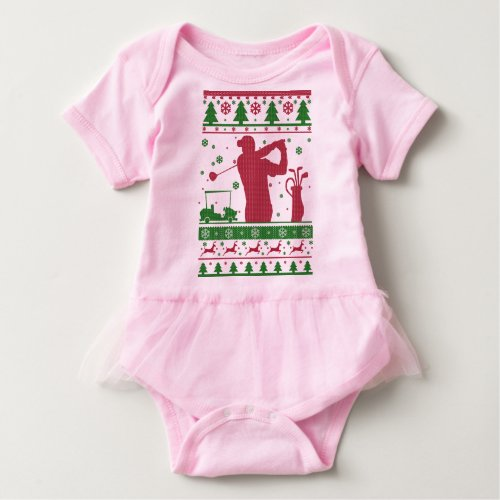 Golf Ugly Christmas Baby Bodysuit