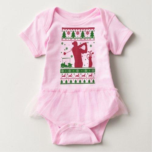 Golf Ugly Christmas Baby Bodysuit