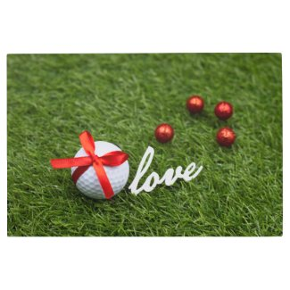 Golf Valentine red  love heart are on green grass Metal Print