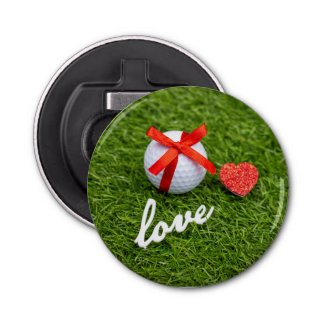 Golf Valentine red ribbon with love on green grass Bottle Opener