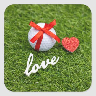 Golf Valentine red ribbon with love on green grass Square Sticker