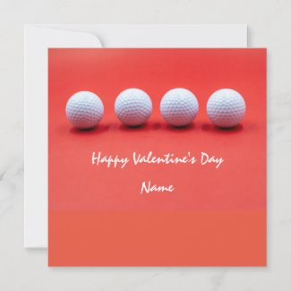 Golf Valentine's Day with golf balls are on red Holiday Card