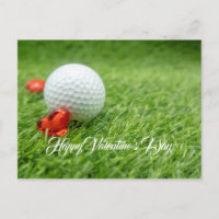 Golf Valentine's Day with love and golf ball Holiday Postcard