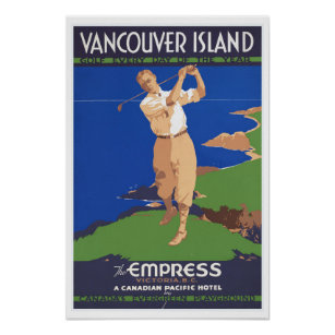 Golf Vancouver Island Canada   Vintage Travel Poster