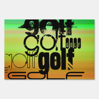 Golf; Vibrant Green, Orange, & Yellow Lawn Sign