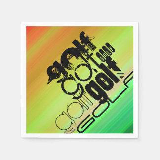 Golf; Vibrant Green, Orange, & Yellow Paper Napkin