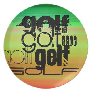 Golf; Vibrant Green, Orange, & Yellow Plate