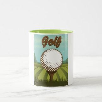 Golf vintage style poster Two-Tone coffee mug