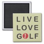 Golf vivo del amor Golfing negro rojo Imán Cuadrado