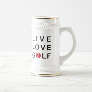 Golf vivo del amor Golfing negro rojo Jarra De Cerveza