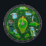 "Golf Water Hazard Dartboard<br><div class=""desc"">An awesome golf inspired dartboard perfect for the golf or sports fan of the family. Features an array of golf targets and hazards. Great for traditional dart games, for making new ones of your own, or as a cool golf art display. Fully customizable to add names, images, and more to...</div>"